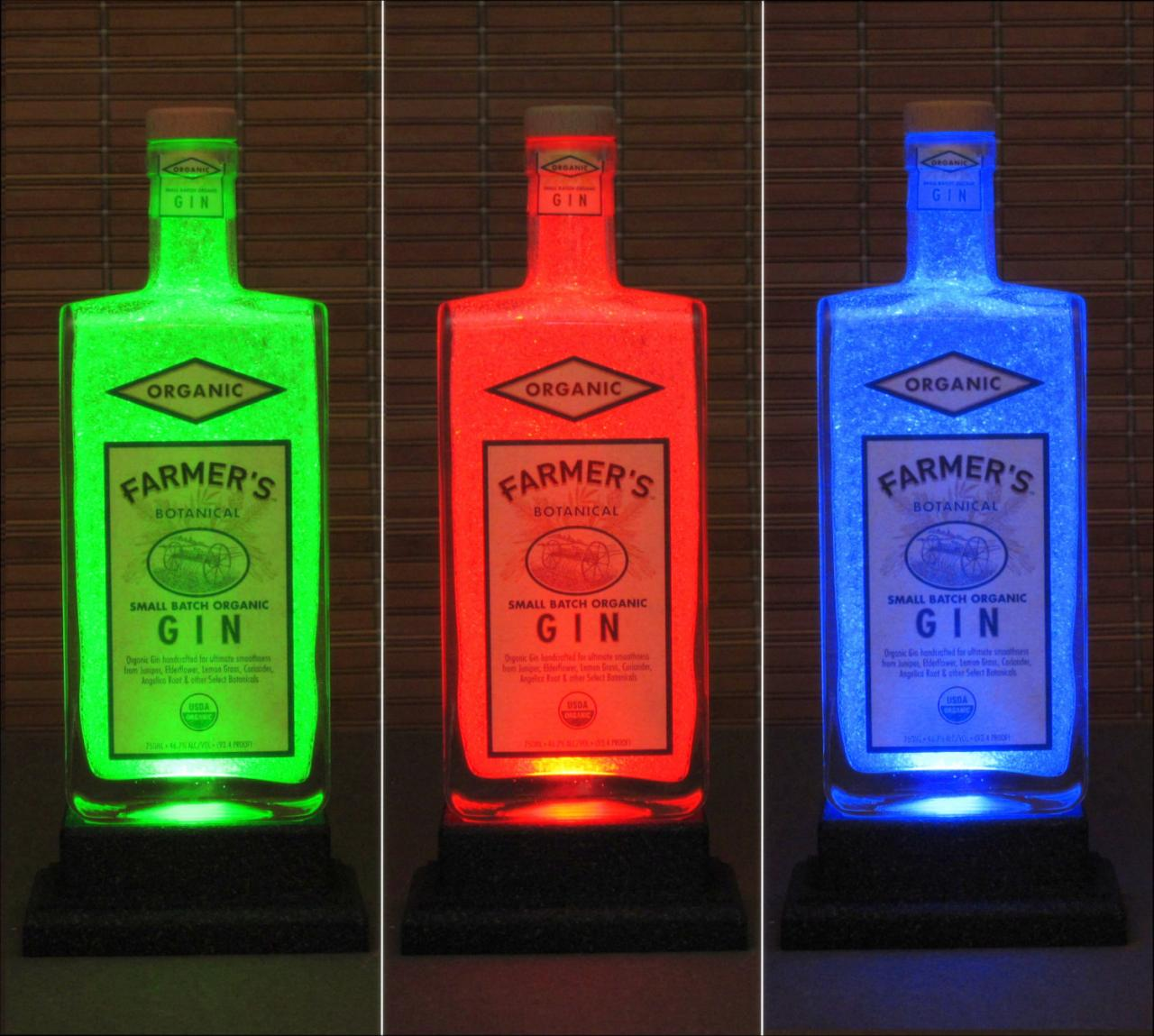 Farmers Organic Gin Color Changing Bottle Lamp Bar Light LED Remote Control Bodacious Bottles