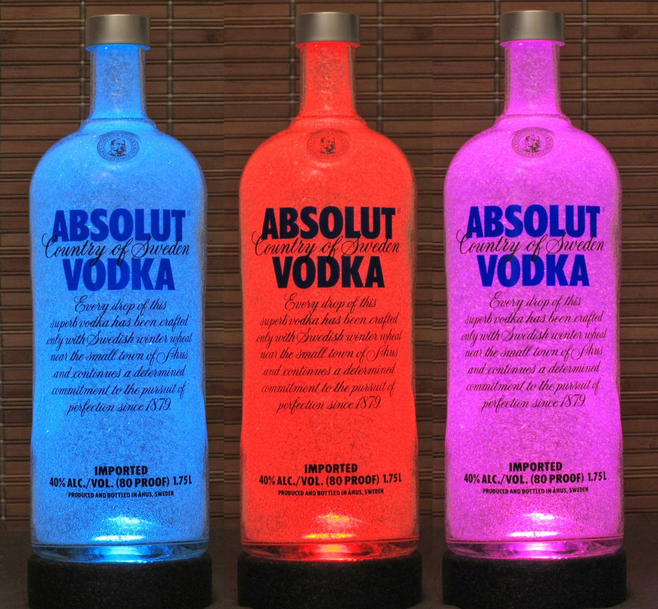 1.75 Liter Absolut Vodka Color Changing Remote Control RGB LED Liquor Bottle Lamp Man Cave Light