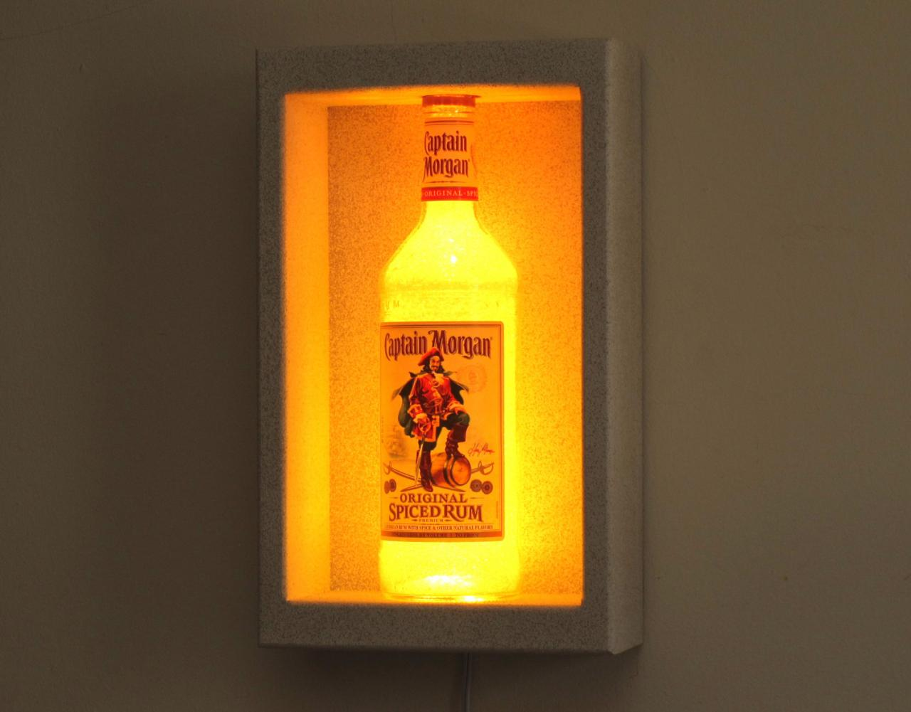 Captain Morgan Spiced Rum Shadowbox Sconce Color Changing Liquor Bottle Lamp Bar Light LED Remote Controlled Eco Friendly LED