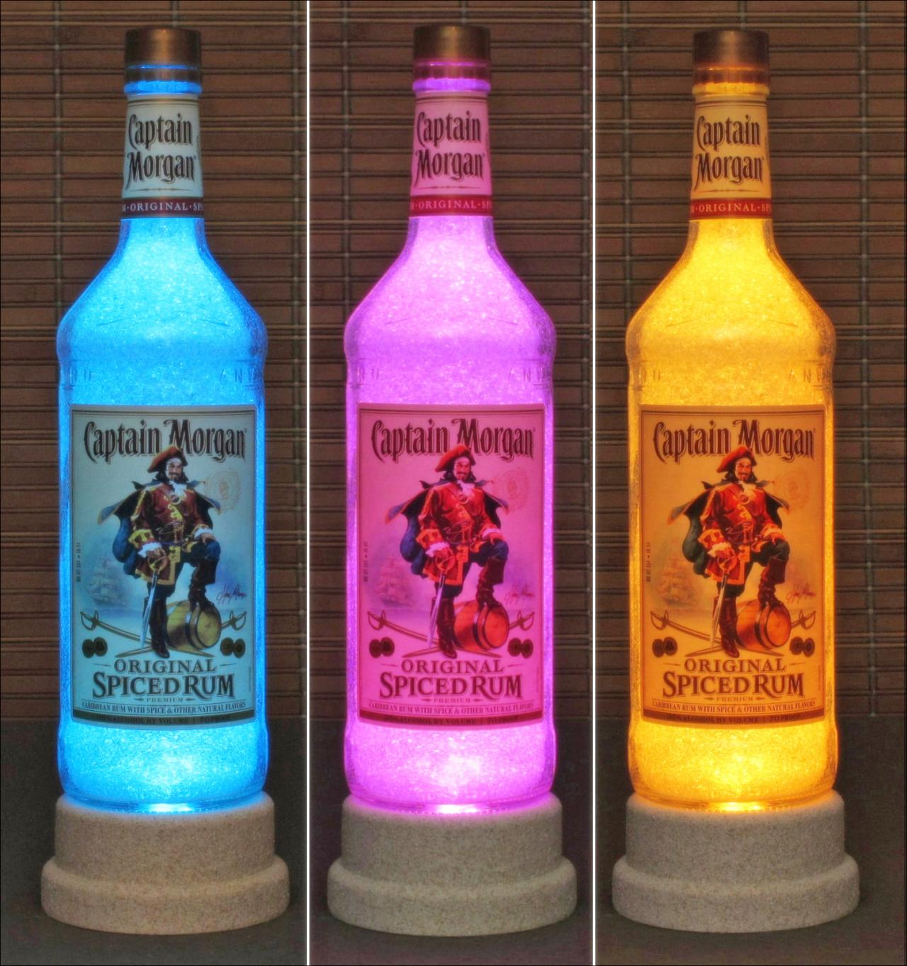 Captain Morgan Rum Color Changing Bottle Lamp Bar Light LED Remote Controlled Bodacious Bottles