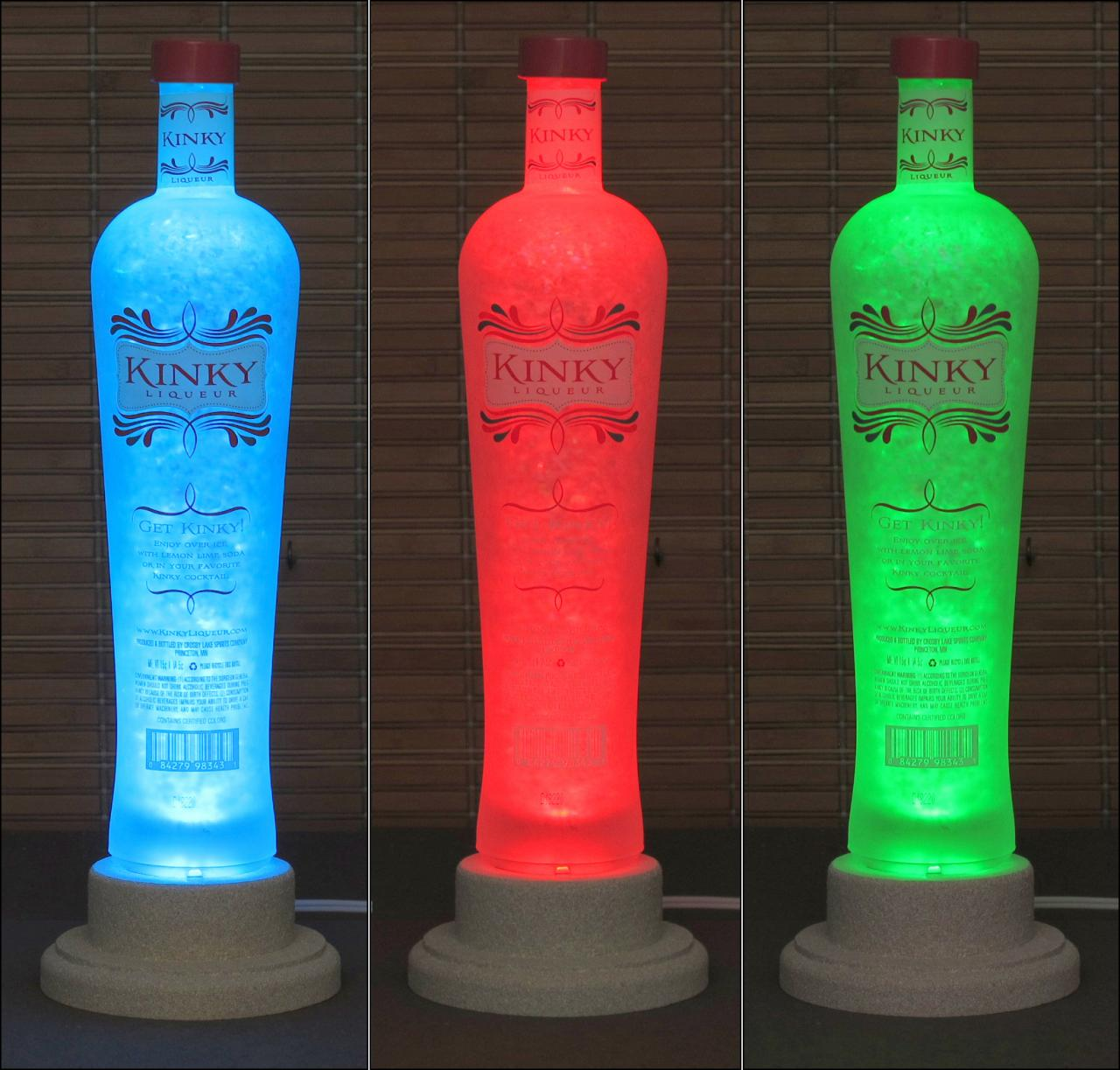 Kinky Vodka Liqueur Color Changing LED Remote Controlled Eco Friendly rgb LED Bottle Lamp/Bar Light / Intense Sparkle-Bodacious Bottles-