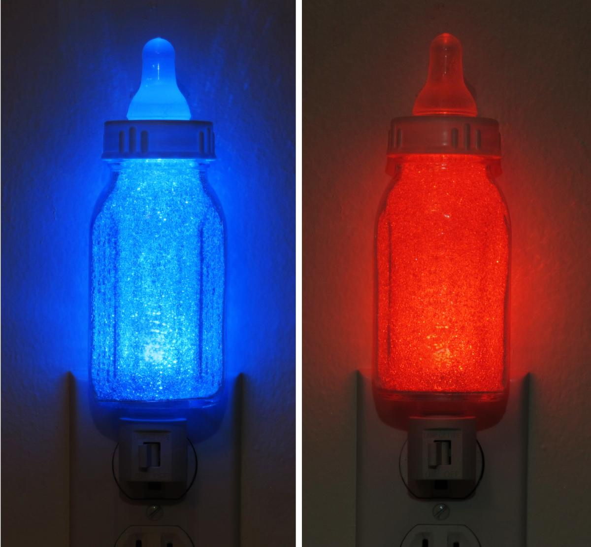 Infant Baby Bottle Blue or Red Night Light-Lamp Boy Girl LED-Nursery Shower Gift
