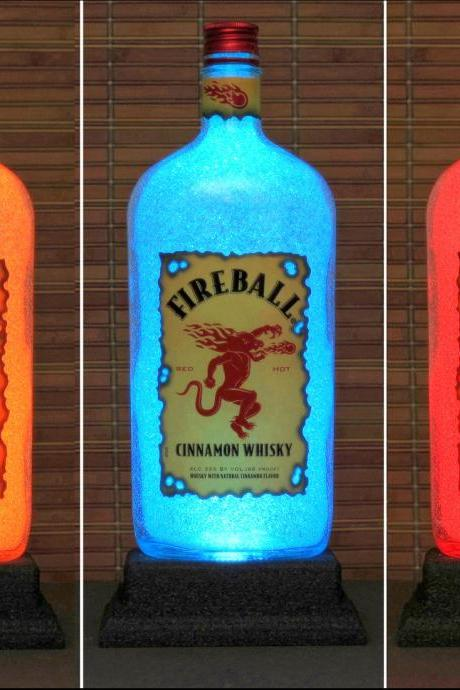Fireball Cinnamon Whiskey LED Color Changing Remote Control Liquor Bottle Lamp Bar Light Man Cave Light