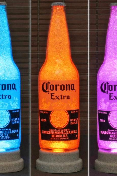 Corona Beer 24oz Remote Controlled Bottle Lamp Light Color Changing LED Mexico Bodacious Bottles