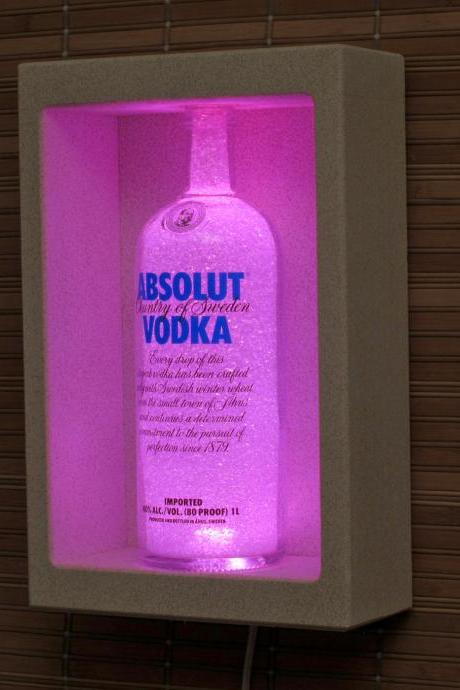 Absolut Vodka Shadowbox Sconce Color Changing Liquor Bottle Lamp Bar Light LED Remote Controlled Eco Friendly LED