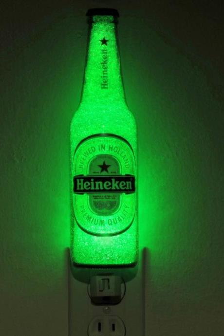 Heineken Beer 12oz LED Night Light Bottle Lamp Emerald Green Glow Bar Man Cave Light Sign