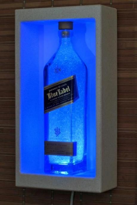 Johnnie Walker Blue Whiskey Wall Mount Lamp Shadow Box Sconce Liquor Bottle Lamp Accent Light Bar Man Cave Lighting Fathers Day