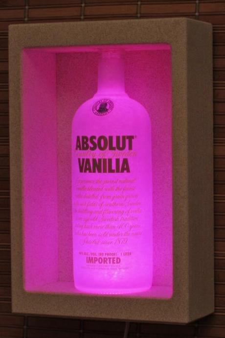 Absolut Vanilia Vodka Shadow box Sconce Color Changing Liquor Bottle Lamp Bar Light LED Remote Controlled Eco Friendly LED
