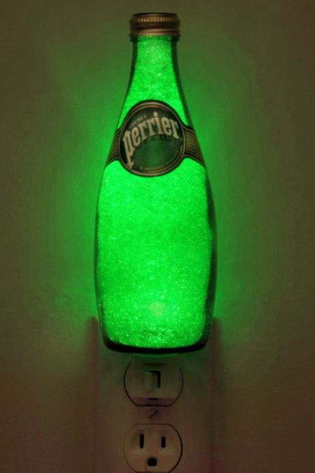 11oz Perrier Night Light Accent Lamp Eco LED Glass Crystal Coating on interior