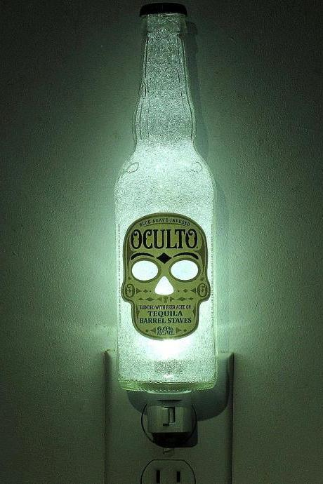 Oculto Beer 12oz Night Light Skull Occult Day of the Dead Lighted Accent Lamp Eco 50,000 hour LED Blue Agave Infused Tequila