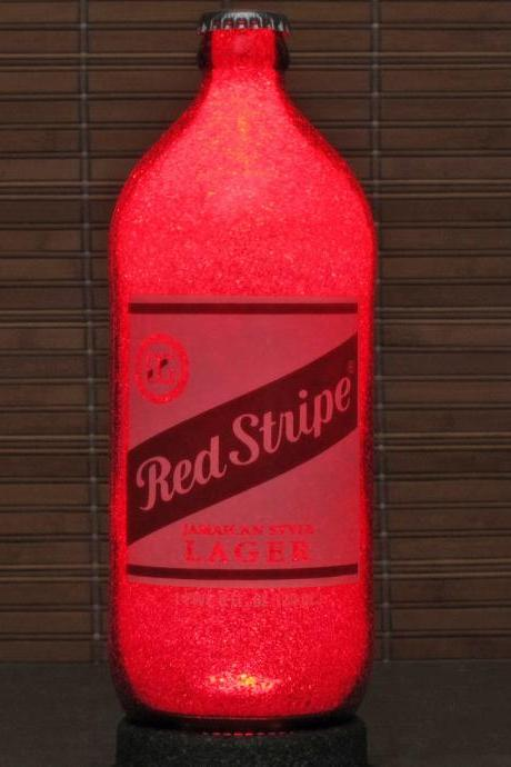 Red Stripe Beer 24oz LED Lighted Bottle Lamp Night Light Bar Man Cave Eco Friendly Ruby Red Glow