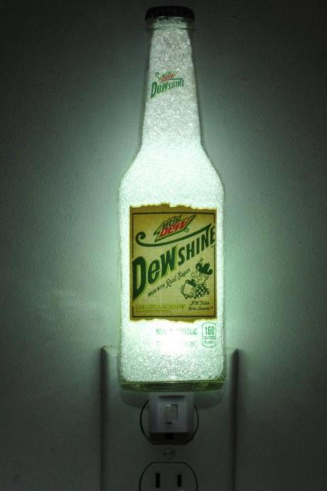 Mountain Dew Dewshine12oz Night Light Accent Lamp Eco LED Diamond Like Glass Crystal Coating on interior