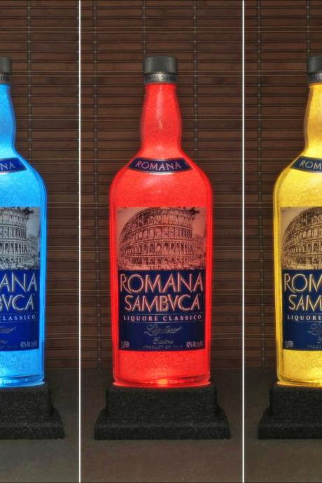 Romana Sambuca Liqueur Italy Color Changing Bottle Lamp Bar Light LED Remote Controlled-Bodacious Bottles-
