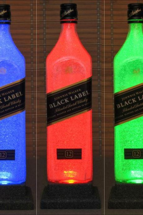 Johnnie Walker Black Label Whiskey Color Changing LED Remote Control Bottle Lamp Light Bodacious Bottles