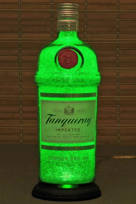 Tanqueray Gin Bottle Lamp/Bar Light-VIDEO DEMO-11 year LED - Intense Sparkle & Glow / Diamond Like Glass coating inside