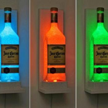 Jose Cuervo Wall Mount Sconce Color Changing Remote LED Bottle Lamp Bar Light