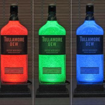 Tullamore Dew Irish Whisky LED Color Changing Bottle Lamp Light W/ Remote Bar