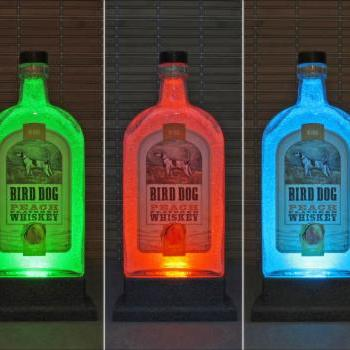 Bird Dog Peach Whiskey Color Changing LED Remote Control Eco LED Bottle Lamp Bar Light