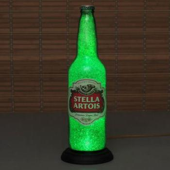 Big 24oz Stella Artois Beer Bottle Lamp Bar Light VIDEO DEMO Intense Sparkle and Glow /