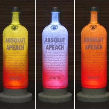 Absolut Apeach Peach Vodka Bottle Lamp Color Changing LED Remote Controlled Eco LED Bar Light Intense Sparkle-Bodacious Bottles-