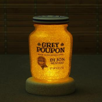 Grey Poupon Night Light Accent Lamp Corded with Switch Eco LED Diamond Like Glass Crystal Coating on interior