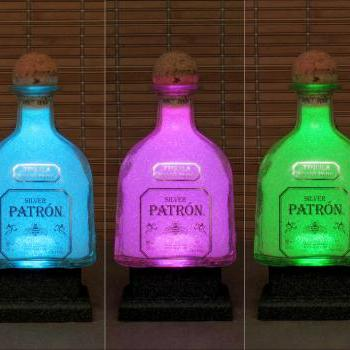 750ml Patron Silver Tequila Color Changing LED Bottle Lamp Remote Controlled Eco Friendly Bar Light -Bodacious Bottles-
