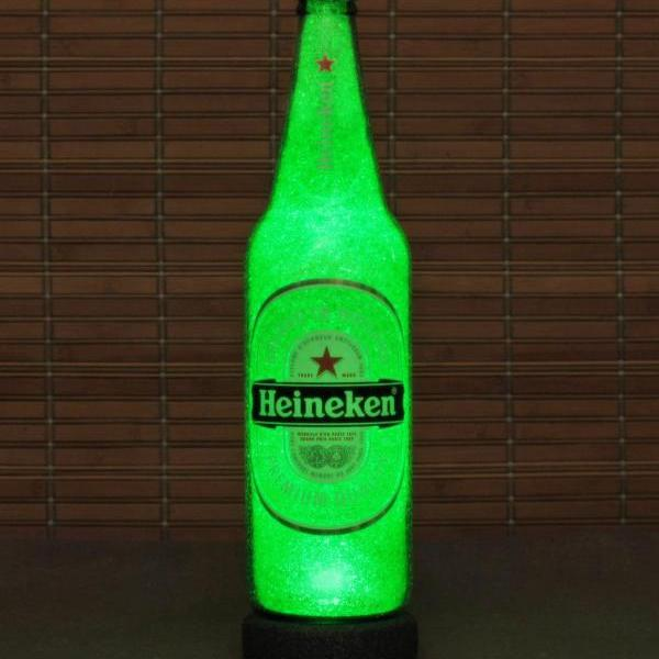 Heineken Beer Big 24oz Emerald Green LED Beer Bottle Lamp Light Bar Man Cave Lighting