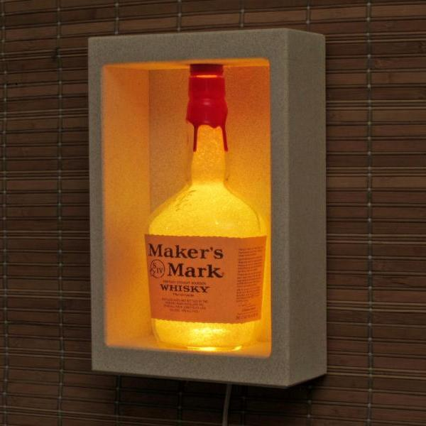 Makers Mark Color Changing LED Sconce Lighted Bottle Remote Controlled Shadow box Wall Mount Liquor Bottle Lamp Bar Light Man Cave Decor