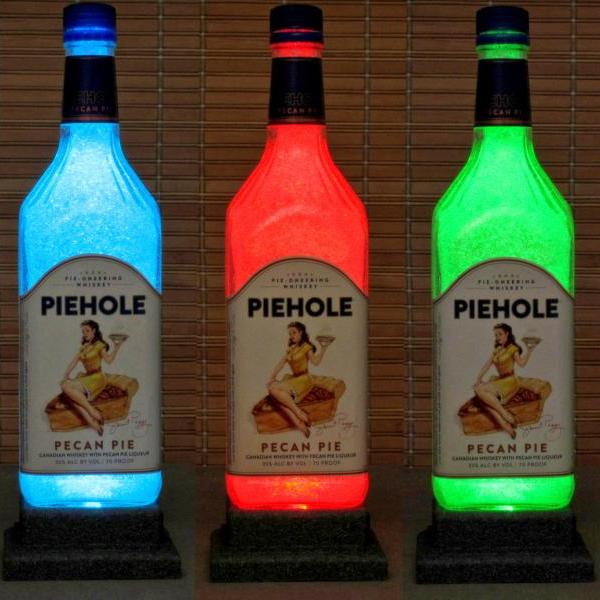 PIEHOLE Pecan Pie Canadian Whiskey W/ Remote Color Changing LED Bottle Lamp Bar Light