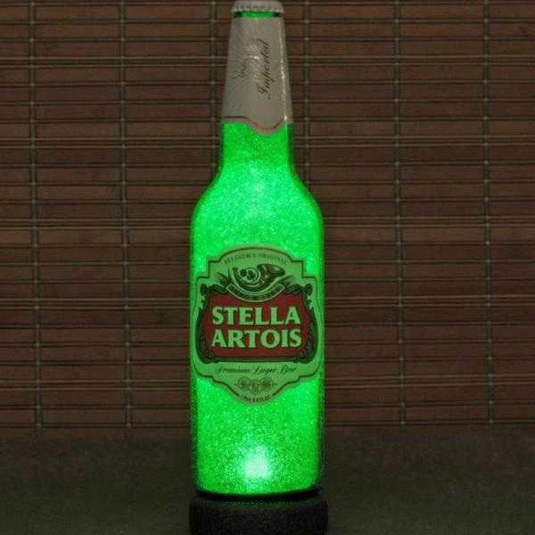 Stella Artois LED Beer Bottle Lamp Big 24oz Bar Light Man Cave Belgium Lager Emerald Green Glow eco led