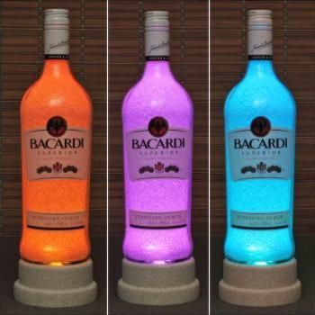 Bacardi Rum Color Changing Bottle Lamp Bar Light LED Remote Controlled Bodacious Bottles